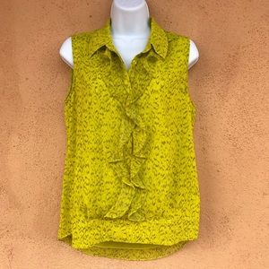 cabi Reign Blouse sleeveless Chartreuse Leopard